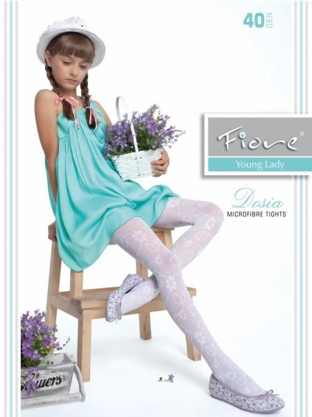 Fiore - Elegant childrens tights with flower pattern Dosia 40 denier
