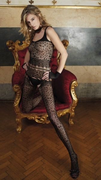Trasparenze - Fishnet Bodystocking with leopard pattern and sophisticated cut outs