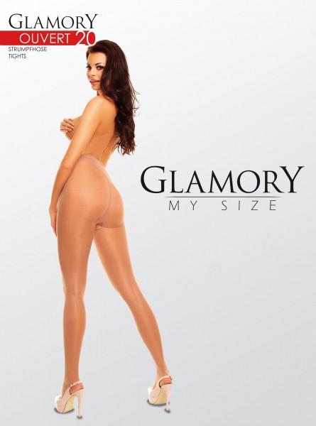 Glamory Ouvert - Collant brillant plus taille avec entrejambe ouverte