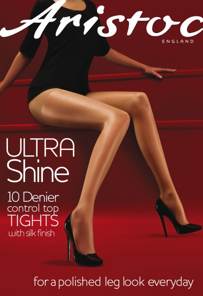 Aristoc - Ultra Shine 10 Denier Control Top tights with silk finish
