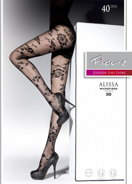 Fiore - Beautiful flower pattern tights Alissa 40 DEN