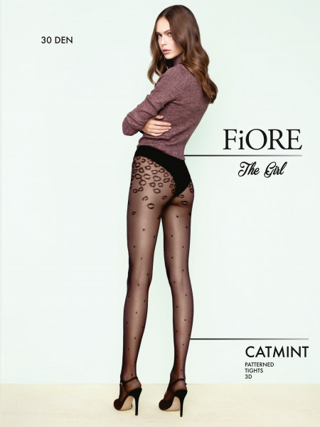 Fiore Catmint - 30 denier polka dot tights with sophisticated leopard pattern