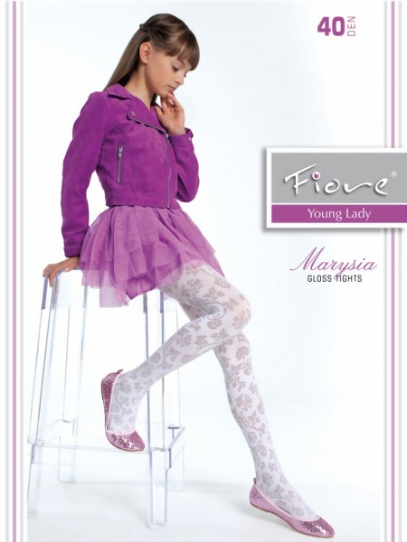 Fiore - Elegant childrens tights with floral pattern Marysia 40 denier