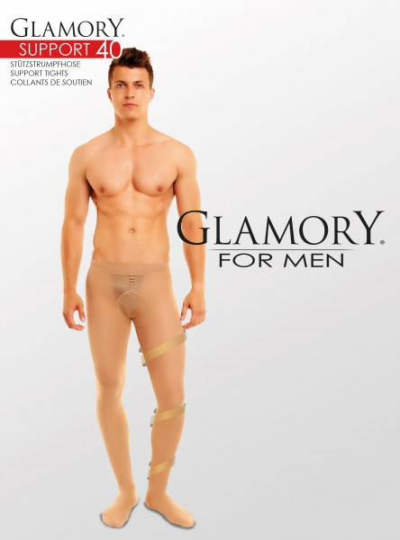 Glamory Support - 40 denier semi-opaque support tights for men