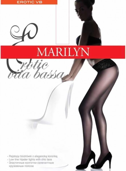 Marilyn - Hipster tights with elegant lace finish at the top Vita bassa 30 DEN